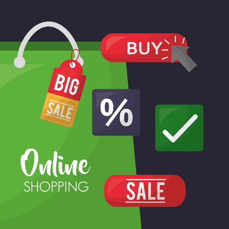 online shopping shop bag stickers porcent sale discount big offers vector illustration