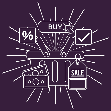 online shopping basket with money ticket sale buy things porcent discount vector illustration