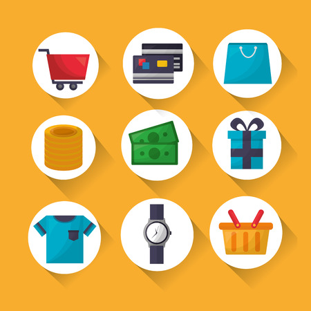 online shopping stickers clothe money credit cards gifts vector illustration Illustration