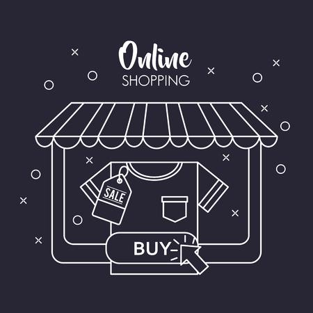 online shopping store shop shirt buy big sale discount vector illustration