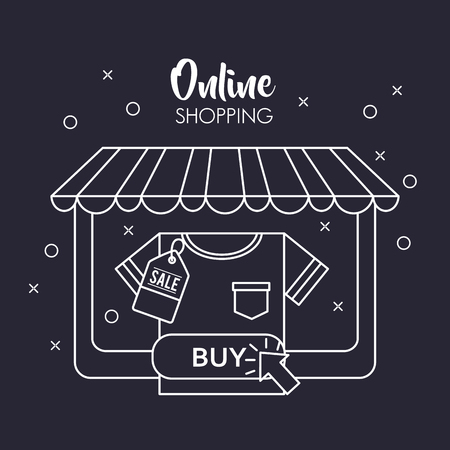 online shopping store shop shirt buy big sale discount vector illustration