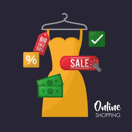 Online-Shopping hängendes Kleid Verkauf Geld porcent Rabatt Vektor-Illustration