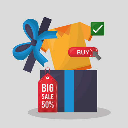 online shopping gift box surprise shirt buy big sale things vector illustration