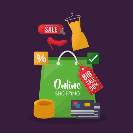 online shopping green shop bag dress coins credit cards high heels clothe vector illustration Stok Fotoğraf - 112259008