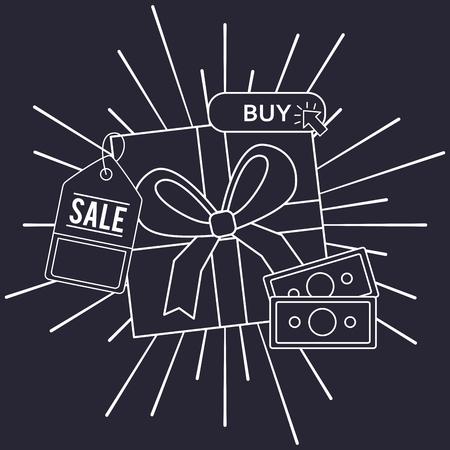 online shopping money sale ticket buy gift box vintage vector illustration 写真素材 - 112259010