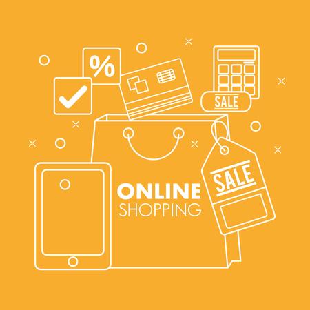 online shopping smartphone credit card porcent discount calculator vector illustration Illustration