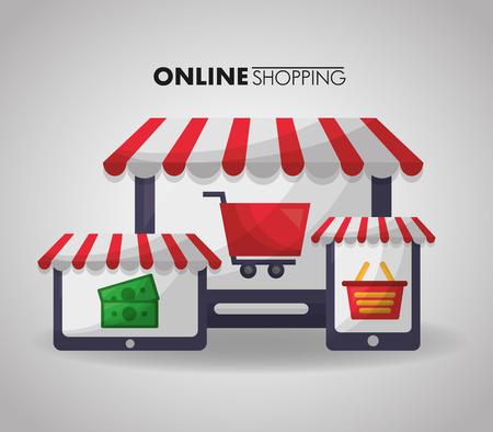 online shopping technology sale money basket car screen vector illustration Illustration