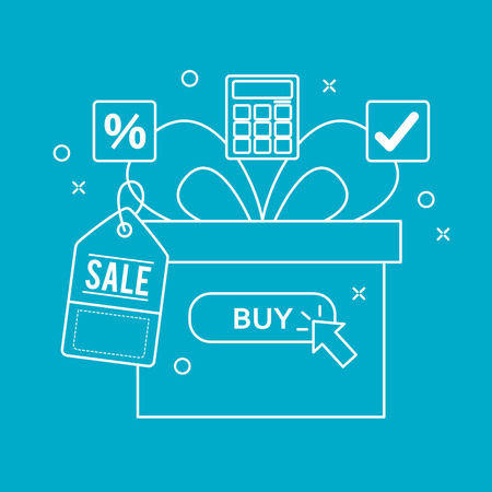 online shopping gift box surprise sale porcent calculator vector illustration Illustration