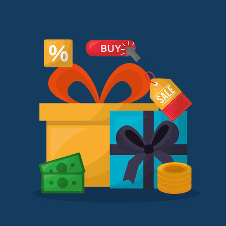 online shopping colors gift boxes money coins sale discount porcent vector illustration Çizim
