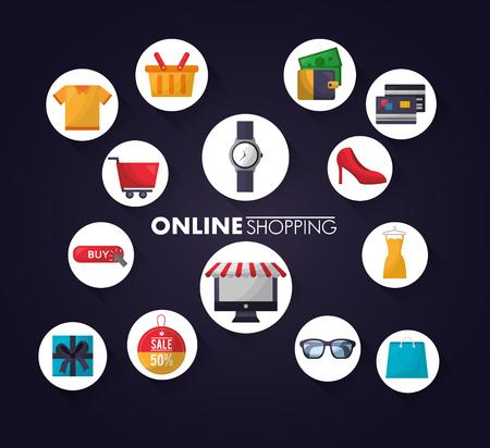 Online-Shopping Aufkleber Kleidung Kreditkarten High Heels Auto Shop Tasche Farben Vektor-Illustration