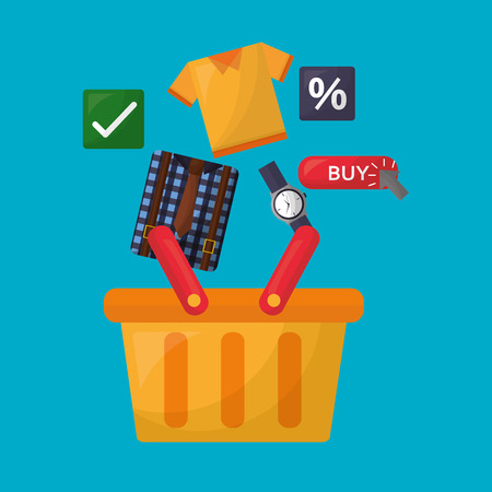 online shopping basket wristwatch sale shirt porcent discount vector illustration Illustration