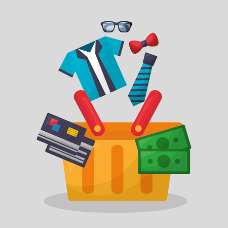 online shopping basket with money credit cards clothe glasses tie vector illustration