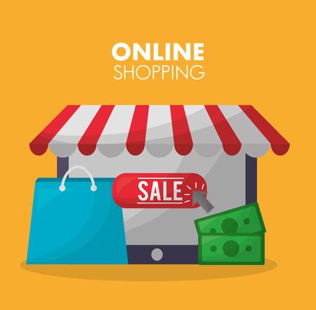Online-Shopping kaufen Dinge Handtasche Geld Verkauf Shop Vector Illustration Vektorgrafik