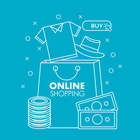 online shopping shirt shop bag money coins clothe hat vector illustration