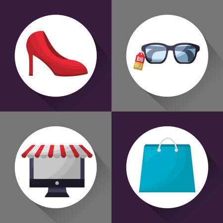 online shopping colors labels shop bag glasses computer high heels vector illustration Archivio Fotografico - 112259025