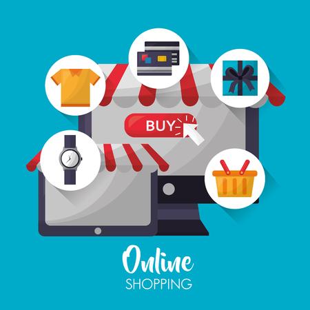 online shopping technology sale clothe credit card basket gift box vector illustration Ilustrace