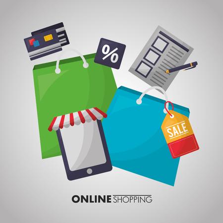 online shopping smartphone shop bags colors list porcent discount vector illustration