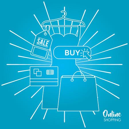 online shopping hanging dress shop bag credit cards buy clothe vector illustration