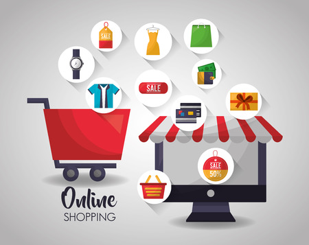 online shopping shop car computer stickers clothe things vector illustration