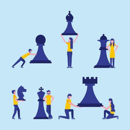 zakenman en vrouw schaakstukken zakelijke vectorillustratie Vector Illustratie