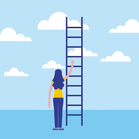 businesswoman back view with business stairs vector illustration
