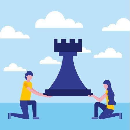 Businessman and businesswoman rook pièce d'échecs vector illustration Vecteurs