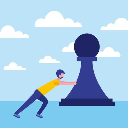 businessman pushing pawn chess strategy business vector illustration
