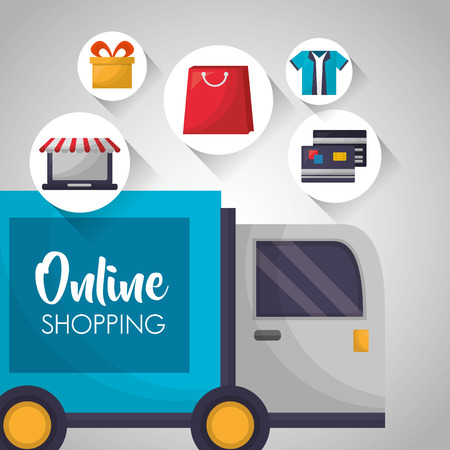 online shopping delivery truck stickers shop car credit cards shirt vector illustration