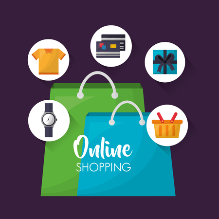 online shopping handbags shop colors stickers clothe things credit cards vector illustration