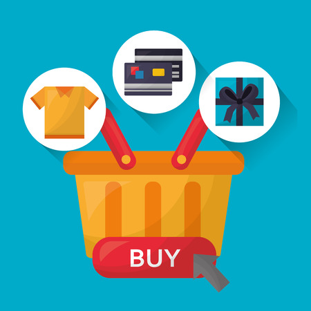 online shopping basket with stickers credit cards gift box shirt vector illustration