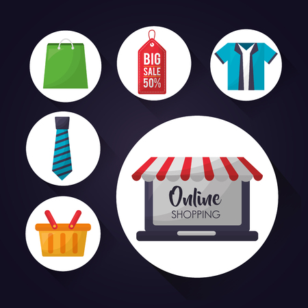 online shopping stickers technology basket clothe ticket sale things offers vector illustration