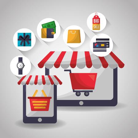 online shopping smartphone technology basket credit cards shop bag vector illustration Ilustrace
