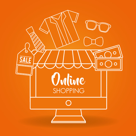 online shopping orange background shirt money sale clothe vector illustration