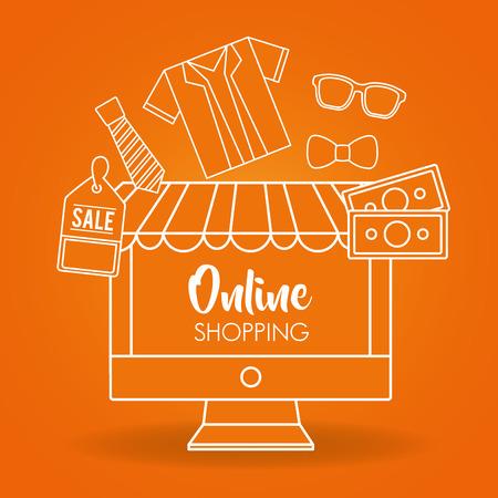 Online-Shopping orange Hintergrund Hemd Geld Verkauf Kleidung Vektor-Illustration Vektorgrafik