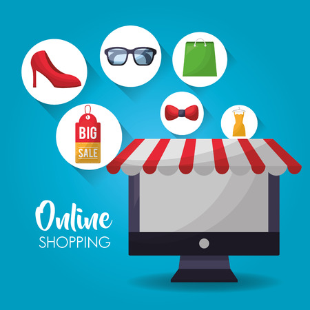 online shopping stickers clothe computer glasses vector illustration Illusztráció