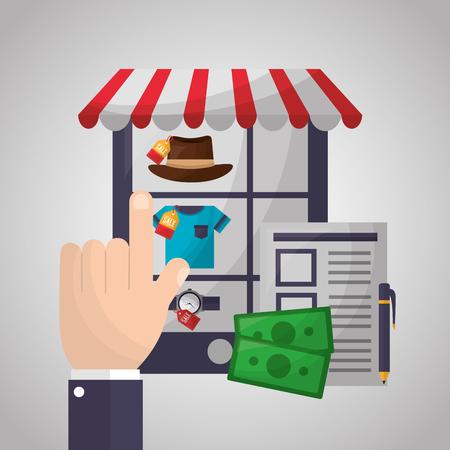 Online-Shopping-Smartphone-Bildschirm kleiden die Hand, die Vektorillustration auswählt