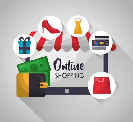 Tecnología de compras en línea dinero billetera tarjetas de crédito vestido de tacones altos ilustración vectorial