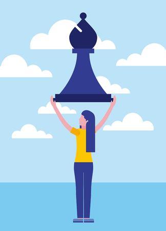Frauengeschäft, das Schachbischoffigur-Vektorillustration hält Vektorgrafik