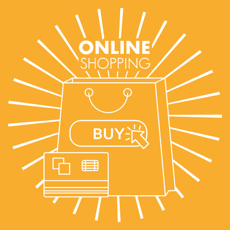 online shopping handbag shop credit card buy retro style vector illustration