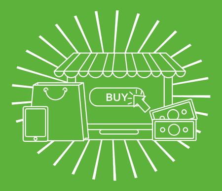 online shopping handbag shop store money smartphone vintage green background vector illustration Illustration