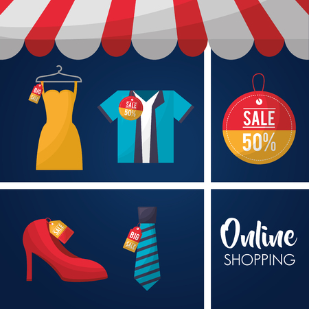 online shopping store shop dress shirt high heels offers sale discount vector illustration 写真素材 - 112259058