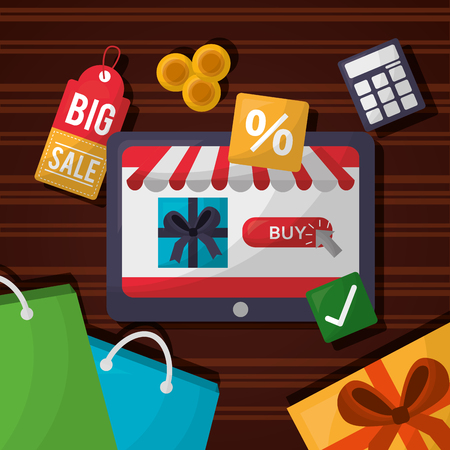 online shopping discount porcent handbags shop coins vector illustration Stok Fotoğraf - 112259061