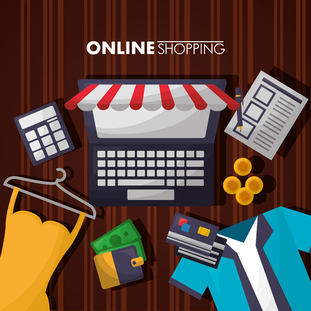 online shopping computer shop store dress credit cards wallet shirt vector illustration Illustration