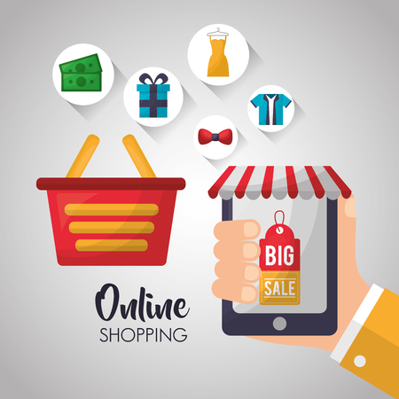 online shopping hand smartphone shop store basket accessories vector illustration