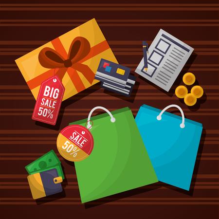 Online-Einkaufsliste Münzen Shop Taschen Farben Brieftasche Kreditkarten Vektor-Illustration