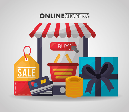 online shopping gift box smartphone basket credit cards coins vector illustration