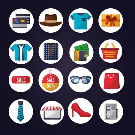 Online-Shopping-Aufkleber Zubehör kleiden Geld Kreditkarten-Vektor-Illustration