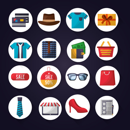 online shopping stickers accessories clothe money credit cards vector illustration Illustration