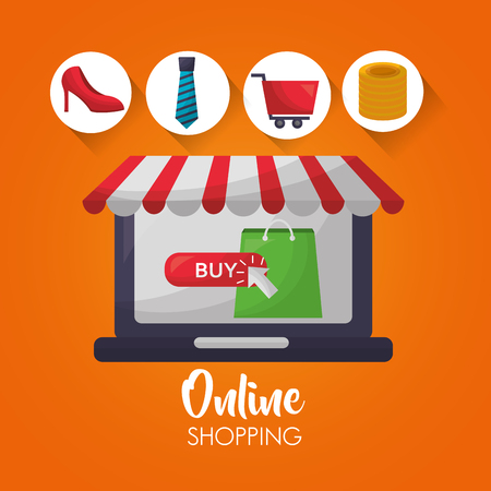 online shopping computer shop store coins car tie clothe accessories vector illustration 矢量图像