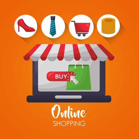 online shopping computer shop store coins car tie clothe accessories vector illustration Illustration